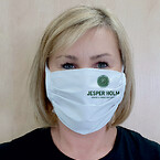 Hvidt stofmundbind med grønt logo
