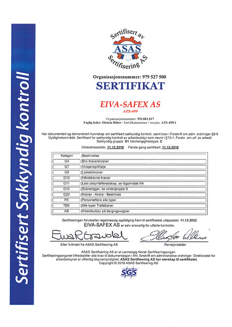 EIVA-SAFEX AS tilbyr Service og vedlikehold - Sertifisert sakkyndig kontroll
