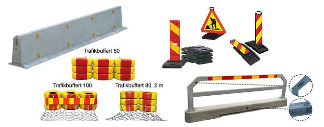 Deltabloc; trafikbuffert; slirstock; vägskylt; trafiksäkerhet; vägbygge; säkerhet; krocktest