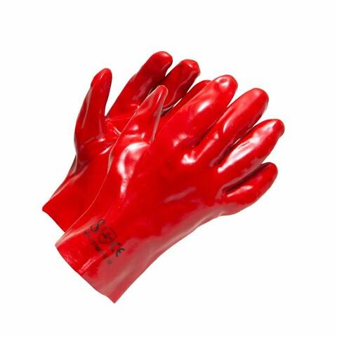 Rød PVC handske kort