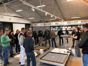 Netværk for murere - her ses de mange deltagende murere ved Alfix Pro Club mødet i Kolding - maj 2019.