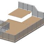 Værn på penthouse terrasserne med flydende yderramme til flydende gulv.