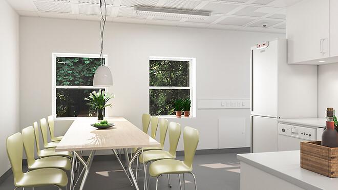 Ajos har udviklet et antal standardenheder til ungdomsboliger med store og lyse fællesrum som eksempelvis køkkener med spiseplads.