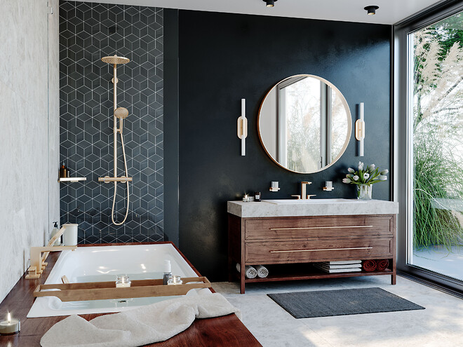 hansgrohe badeværelse i børstet bronze