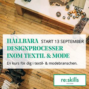 bild med text och bakgrund som berättar om en ny kurs: hållbara designprocesser inom textil och mode.