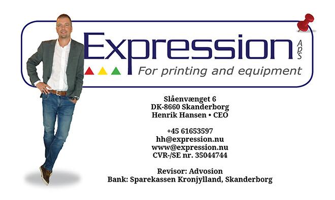 Logo og kontakt oplysninger for Expression