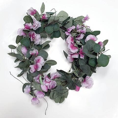 Blomster til sanne krans, eukalyptus krans, ærteblomst
