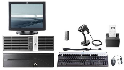 HP dator anpassat till kassasystem inklusive dataskärm, tangentbord, allt som behövs vid betalning.