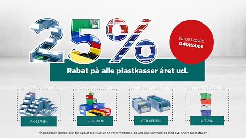 25% rabat på alle plastkasser året ud. - 25% rabat på alle plastkasser året ud hos BITO Lagerteknik A/S