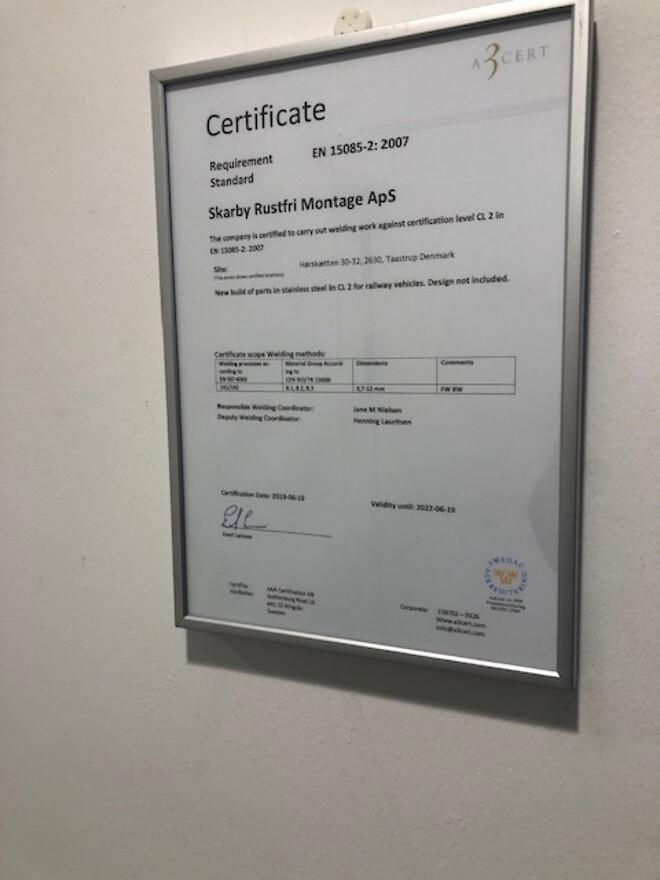 EN 15085-2: 2007 certifikat til skarby rustfri montage
