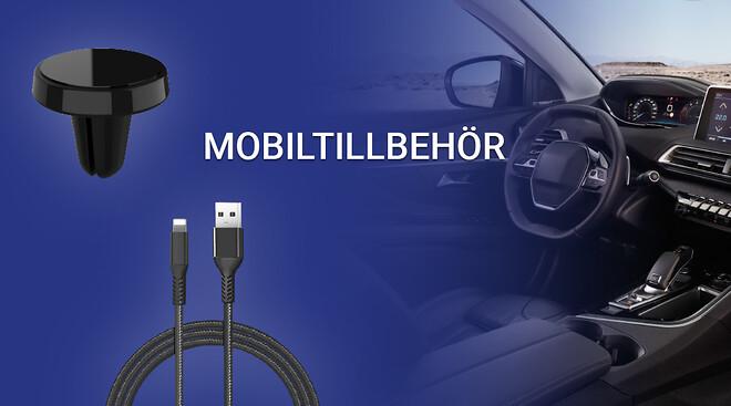 Mobiltillbehör så som mobilhållare och USB-kablar.