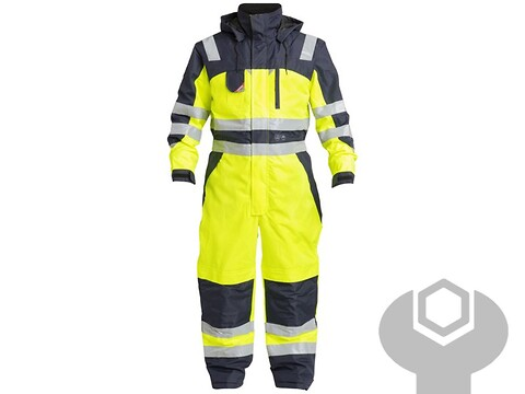 Vinterkedeldragt safety gul/marine - str. 3XL