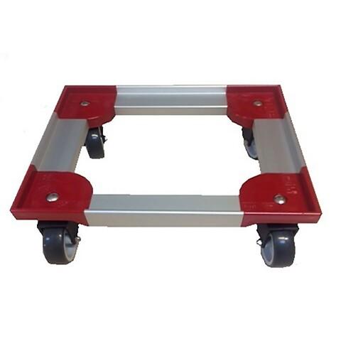 Traller345x345mm m/4plastdrejgf/TPE gum.hj.-INOX