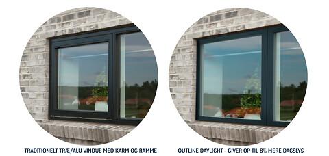 Stadig muligt at installere vinduer med 2-lags glas og energimærke A  i helårsboliger - Vinduer med smaller rammer - Outline Træ/Alu Daylight