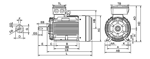 Ie3 ElektromotorHMC3 315M 6p B3 IE3 nu