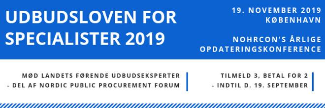 Udbudsloven for specialister 2019 - Nohrcon udbudskonference
