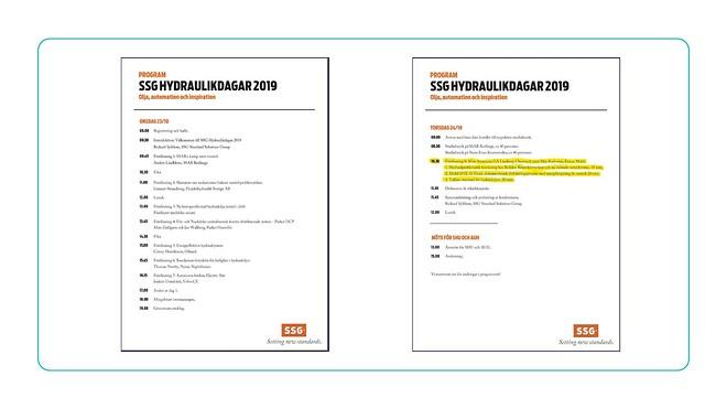 Vår smörjmedelstekniker Mats Svensson är inbjuden tillsammans med Max Karlovini från ExxonMobil att hålla föredrag på SSG Hydraulikdagar i Borlänge den 23-24 oktober!