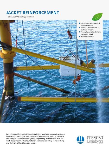 Strukturforsterkning av offshore installasjoner fra PREZIOSO Linjebygg