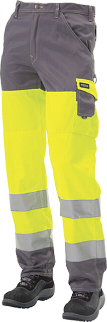 Arbejdsbukser en iso 20471 kl. 2, gul/grå - 11106