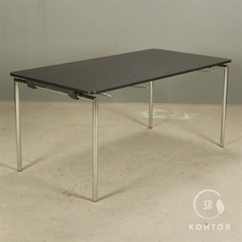 Foldebord, sort laminat, afrundede hjørner. 160x80