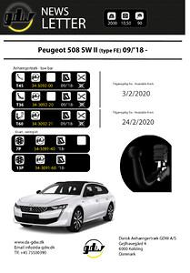 Peugeot 508 SW II\nDragkrok fast + T60 system fron Dansk Anhængertræk GDW