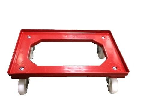 Traller 610x410mm m/4 drejestålgf -nylonj. -rød