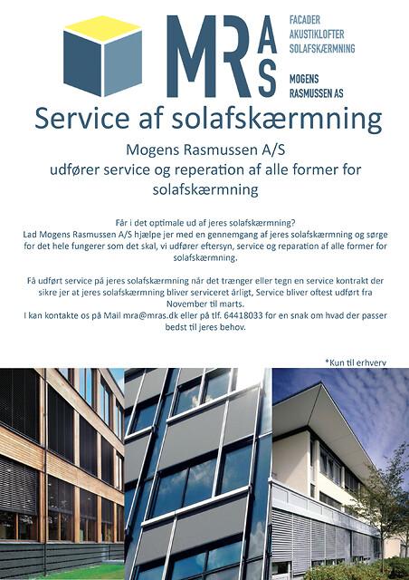 Mogens Rasmussen A/S Udfører service eftersyn på alle typer solafskærmning.