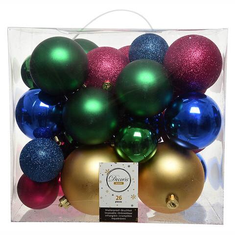 Julekugle mix Blå, Grøn, Guld, Fushia, 26 stk blandet