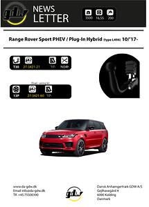Range Rover Sport PHEV PlugIn Hybride\nDansk Anhængertræk GDW