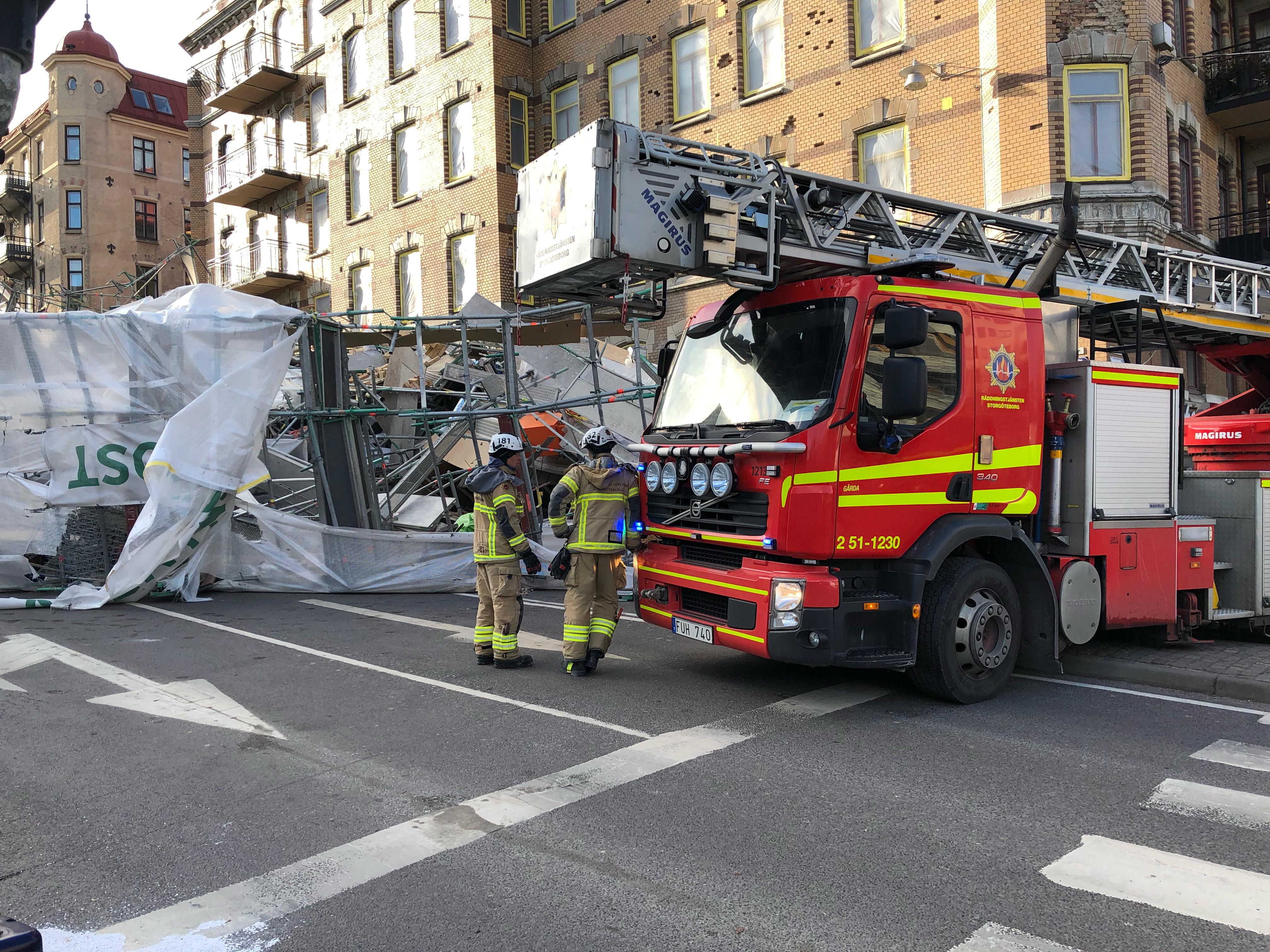 Byggnadsstallning rasade i centrala stockholm