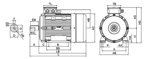 Ie3 ElektromotorHMA3 132S1 2p B3 IE3