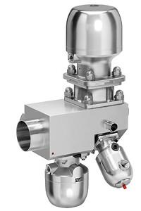 Flervejs-ventilblok i specialstål med reguleringsventilen GEMÜ 567 BioStar control og membranventilen GEMÜ 650 BioStar til dosering fra ét sterilt loop og fordeling på flere udtag.