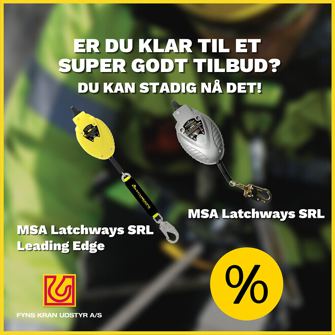 Lagersalg MSA Latchways faldblokke Fyns Kran Udstyr