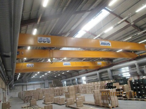 Brugte traverskraner ABUS 17.5 ton x  ca.22.6 mtr spænd sælges