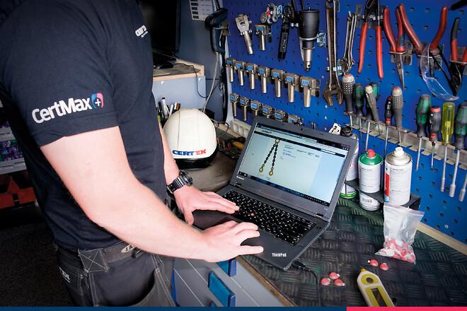 Certex system CertMax+ används vid inspektion av lyft- och fallskyddsutrustning