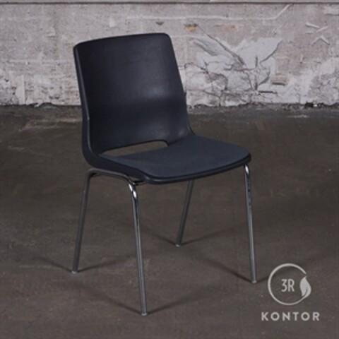 RBM kantinestol, grå plastic, polstret sæde