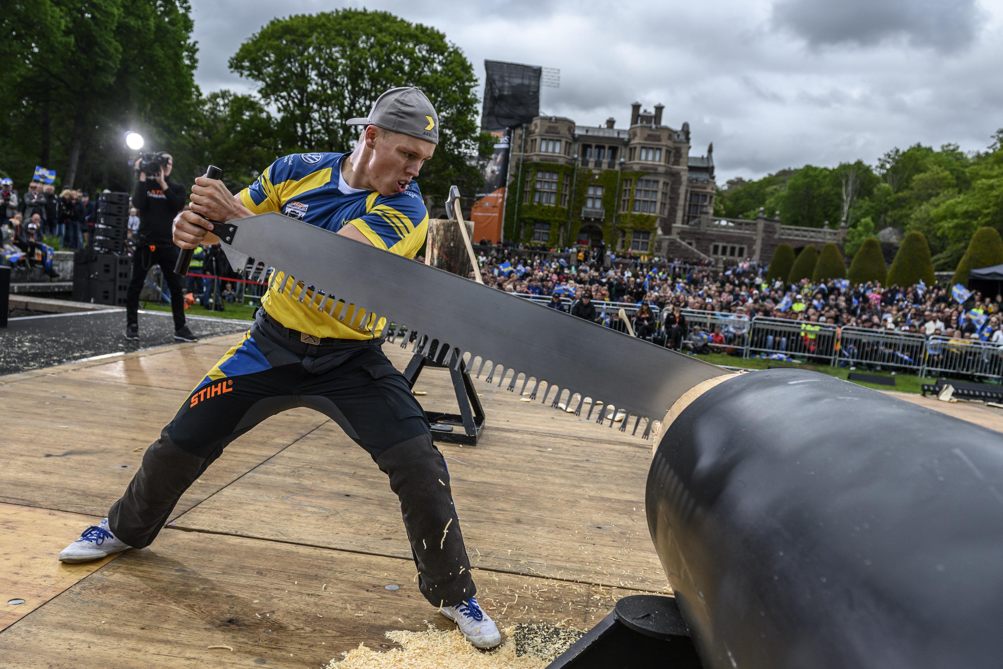 c377d751 Timbersports: Ferry Svan slog nytt personligt rekord och blev sexa och Emil  Hansson tog brons