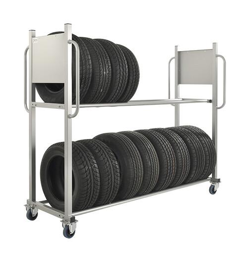 Dækvogn til 16 dæk - Dækvogn til opbevaring og transport af dæk