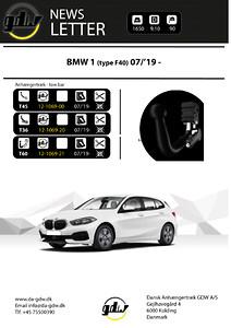 Anhængertræk nyhed BMW 1 F40 fast og skjult aftageligt T60 system fra Dansk Anhængertræk GDW