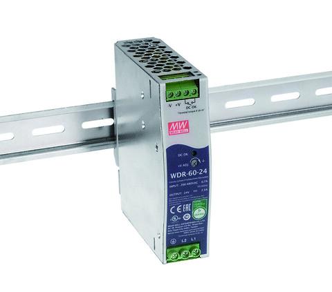 WDR-60 DIN-rail strømforsyning med Vin: 180-550Vac -- Power Technic - WDR-60 DIN-rail strømforsyning fra MEAN WELL. Forhandler er Power Technic.