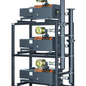 Vakuummodul med tre MINK klovakuumpumper fra Busch. To af sådanne moduler leverer vakuum til Treppenbau Voß