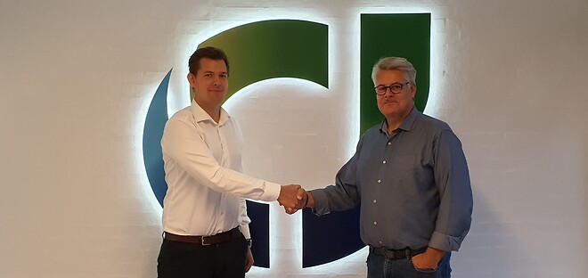Jonathan Smetana, vicedirektør (TV) og Michael Bøgelund Dalager, sektionsleder (TH) i CJ A/S, glæder sig til i tæt samarbejde at opbygge den fynske afdeling i Langeskov.