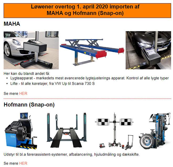 MAHA lifte og Hoffman udstyr supplerer Løweners autoprogram perfekt.