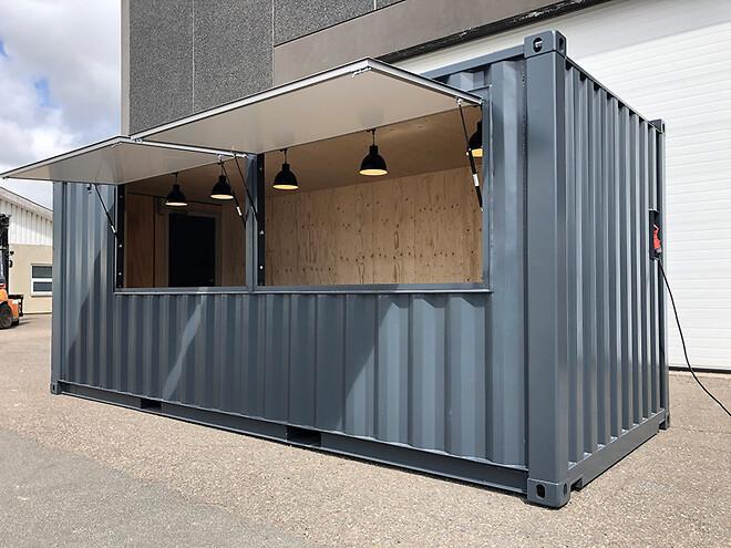 Salgsbod: Udendørs servering til cafe i special container fra DC-Supply