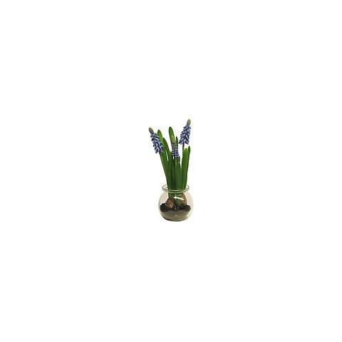 Perlehyacint i glas, blå, 22cm, kunstig plante