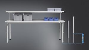 Höjdjustering i arbetsbänkar, transportband, monteringsbord hos Aero Materiel för ergonomisk arbetsposition.