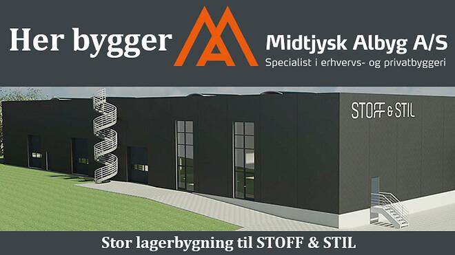 Ny lagerhal til STOFF & STIL. Byg erhvervsbyggeri med Midtjysk Albyg
