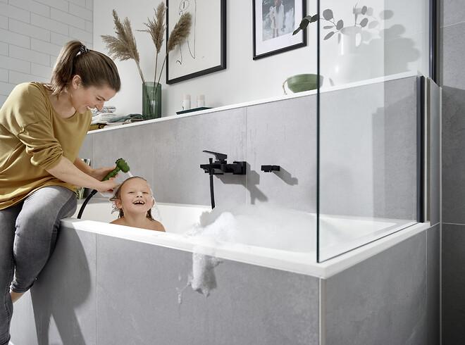 Brusebad uden tårer: Med MonoRain i Jocolino-bruseren bliver shampoo skyllet målrettet ud, så det ikke løber ned i øjnene. Den høje, CE-mærkede kvalitet og den enkle installation gør også bruseren til forældrenes favorit.