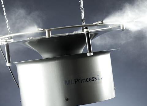 ML Princess: Högtrycksbefuktare för direkt rumsbefuktning - ML Princess er en loftmonteret befugter, som er ideel til produktioner.