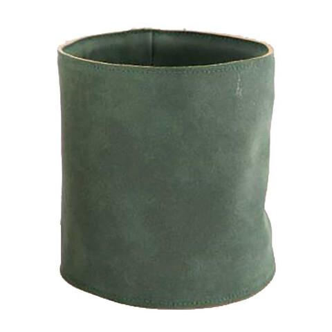 Potteskjuler i læder, Ø12,5cm, grøn